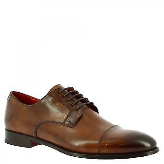 Leonardo Shoes Men's handgemaakte elegante lace-up oxford schoenen bruin kalfsleer