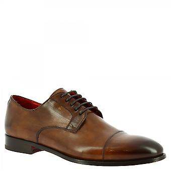 Leonardo Shoes Men&s ręcznie robione eleganckie sznurowane buty oxford brązowe skóry cielęcej