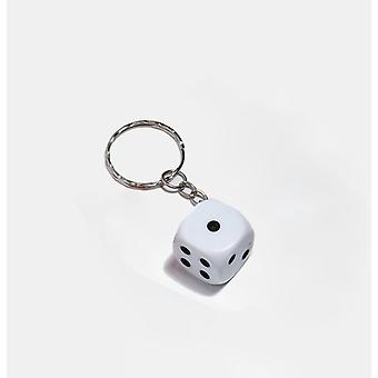 Key ring/Key chain with dice (white)