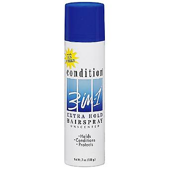 Condition 3-in-1 extra hold hair spray, aerosol, unscented, 7 oz