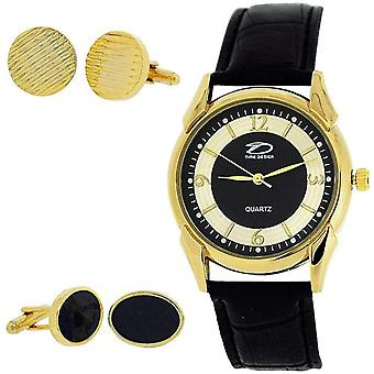 Time Design Gents Analogue Watch & Two Pair Of Cufflinks Gift Set TDX0713G30