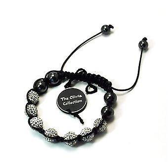 TOC Treated Hematite &  7 Clear Crystal Disco Ball Adjustable Bracelet
