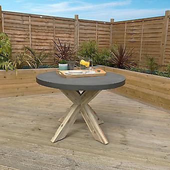 Charles Bentley Runde Faser Zement & Akazien Holz Industrie Indoor Outdoor Esstisch - grau & weiß gewaschen Holz