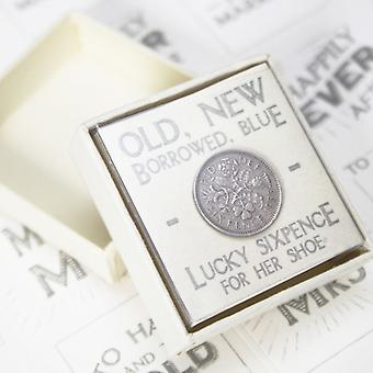 East of India #'Lucky Sixpence Old New Borrowed Blue'# Keepsake Box Bride Tradition