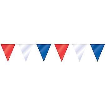 Flaggirlang   Vimpelgirlang   Pennant Red, White and Blue - 3 m.
