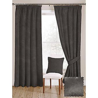 Mcalister textiles shiny charcoal grey crushed velvet curtains