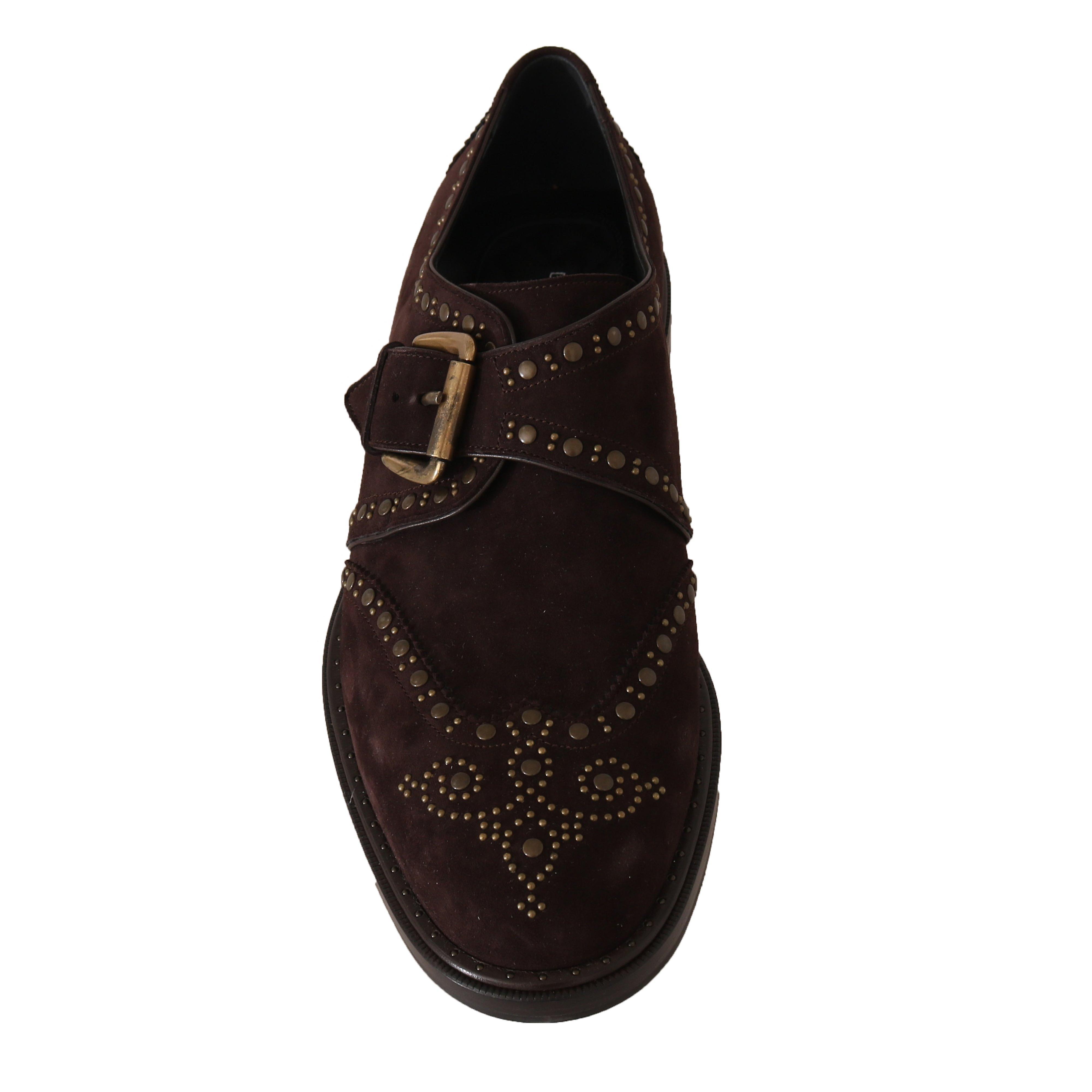 Dolce et Gabbana Brown Suede Monkstrap Silver Studded Chaussures -- MV19639856