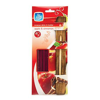 Pack Of 40 Incense Sticks With Ash Catcher / Holder ~ Apple And Cinnamon