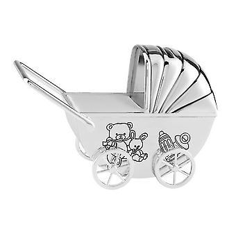 Orton West Baby Pram Money Box - Silver