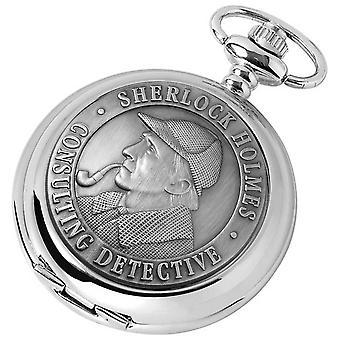 Woodford Sherlock Holmes Chrome Plated Double Full Hunter Skeleton Pocket Watch - Silver