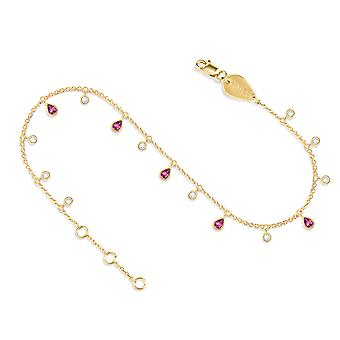 Anklet Glitter 18K Gold and Diamonds - Yellow Gold, Pink Sapphire