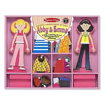Childrens Melissa and Doug Abby & Emma Magnetic Wooden Dress-Up Dolls 3+ years