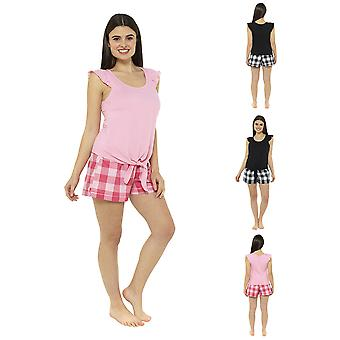 Jersey Ruffle Tie Top With Check Shorts Pyjama Set