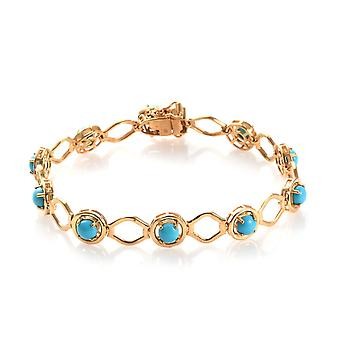 Doornroosje Turquoise Station Bracelet Sterling Silver 14ct Gold Plated TJC