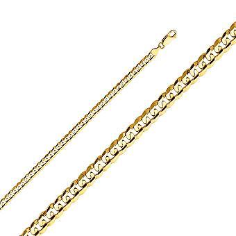 14 k Gelbgold Miami Curb 4,8 mm konkav Halskette Schmuck Geschenke für Frauen - Länge: 20 bis 26