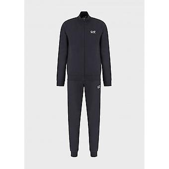 EA7 by Emporio Armani Funnel Neck Zip Navy Cotton Tracksuit