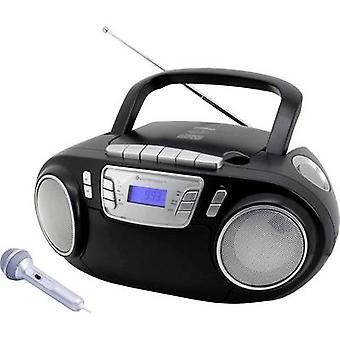 soundmaster SCD5800SW Radio CD-speler FM FM, USB, Tape, Radio cassettespeler Incl. microfoon Zwart