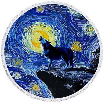 Van Gogh Art Wolf Beach håndkle