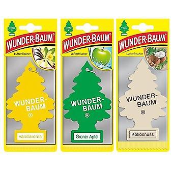 Doftgran Wunder-Baum (Vanilj + Äpple + Kokosnöt) 3-Pack