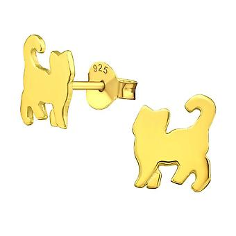 Children's Gold Plated Sterling Silver Cat Stud Earrings