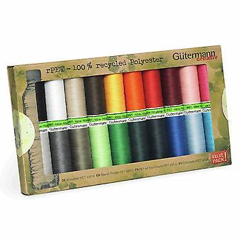 Gutermann100% gerecycled polyester naaidraad 100 - 20 basic gekleurde rollen