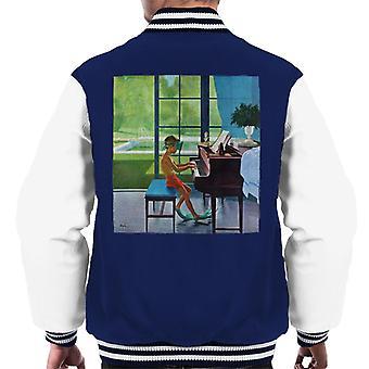 De saturday evening post poolside piano praktijk George Hughes Men's Varsity Jacket