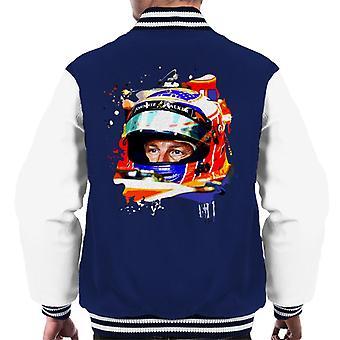 Motorsport Images Jenson Button McLaren MCL32 Honda Monaco Helmet Shot Men's Varsity Jacket