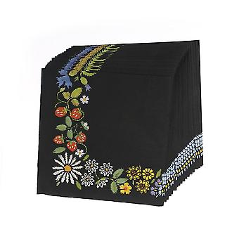 Paper Wedding Napkins Tissue Black Color Print Embroidery Art Handerchief Decoupage