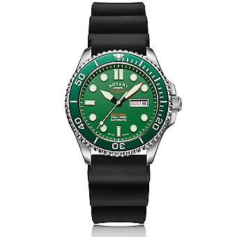 "Rotary Super 7 SCUBA ""Hulk"" Automatisk Green Dial Silicone Strap Mænd's Dive Watch S7S003S"