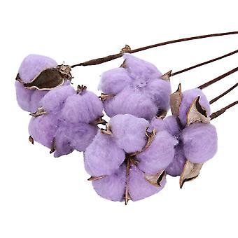 20PCS natürliche getrocknete Baumwolle Vorbau Home Dekoration Light Purple 35cm