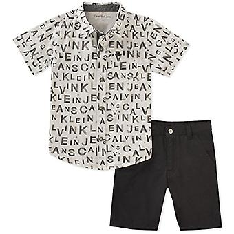 Calvin Klein Boys' Little 2 Pieces Shirt Shorts Set, Black/White, 7