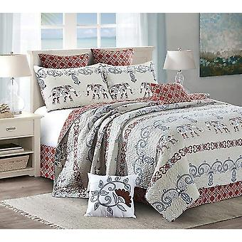 2 PC Adah Printed King/Queen Size Polyester Quilt With 2 Shams