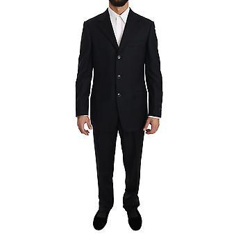 Black Stripe Two Piece 3 Button Wool Suit -- KOS1092144