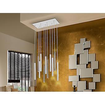 Zintegrowana dioda LED 11 Light Dimmable Cluster Drop Bar Wisiorek sufitowy Matowy Biały, Złoty