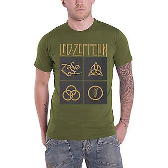 Led Zeppelin T Shirt Gold Symbols Logo Black Square new Official Mens Green