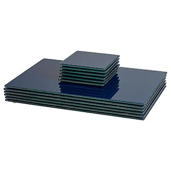 12 Piece Glass Placemats and Coasters Set - Hague Blue