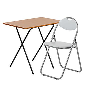 2 Piece Folding Desk and Chair Set - Wooden Top - Brown/White