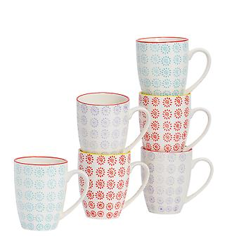 Nicola Spring 6 Piece Hand-Printed Tea and Coffee Mug Set - Japanese Style Porcelain Latte Mugs - 3 Colours - 360ml