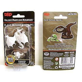 D&D Nolzur's Unpainted Minis Black Dragon Wyrmling (Pack of 6)