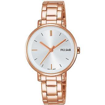 Vestido de oro rosa de las señoras Pulsar con reloj gris dial 50m (modelo No. PH8340X1)