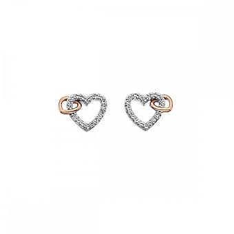 Hete diamanten saamhorigheid open hart oorbellen Rose Gold DE606