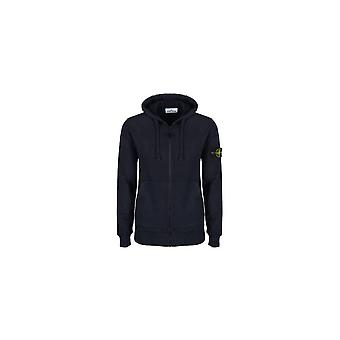 Stone Island Cotton Zip Up Navy Hoodie