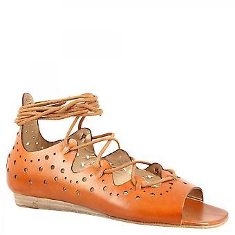 Leonardo Schuhe Frauen's handgemachte offene Zehen niedrige Fersen Schnürsenkel Ballett Wohnungen Schuhe in braunoffenem Kalbsleder