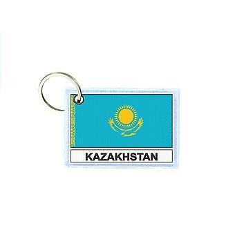 Porte cles cle clefs imprime double face drapeau KZ Kazakhstan