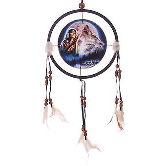 Decorative Midnight Wolf Moon 16cm Dreamcatcher