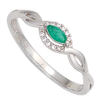 Women's Ring 333 Gold White Gold 1 Emerald Green 10 Diamonds Brilliant Gold Ring