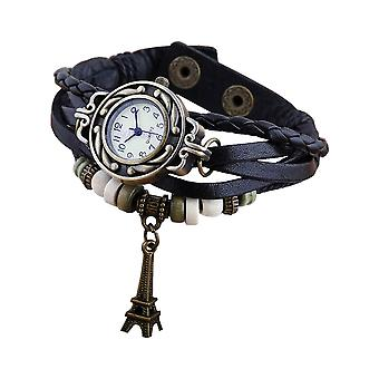 Boolavard® TM Eiffel Tower Quarz Mode weben Wrap-around-Leder-Armband-Frauen-Armbanduhr