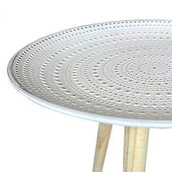 Charles Bentley pressade mönster sidobordet Natural små små runda rustikt vitt kaffe soffa änden säng stå präglad furu trä 3 ben Scandi