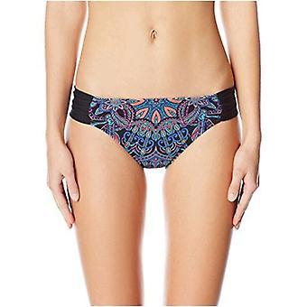 Kenneth Cole REACTION Women's Dream Weaver Shirred Sash Tab Bikini Bottom with Crystal Accents, Black, L