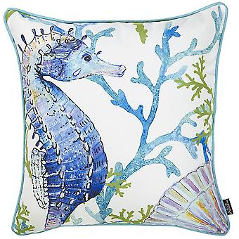 Marine Seahorse Square Pillow Cover